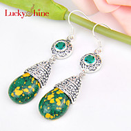 Luckyshine Special Drop Vintage Fire Mosaic Jasper Gem Prong Setting Drop Earrings For Wedding Party Daily 1pair