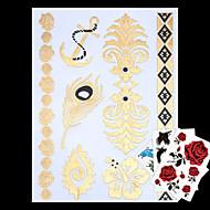4 - Séries bijoux - Doré/Multicolore/Argenté - Motif - 23*15*0.1cm - Tatouages Autocollants Homme/Femme/Adulte/Adolescent