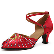 Women's Dance Shoes Sandals Satin Rhinestone Cuban Heel Brown/Red