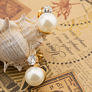 Women's Fashion Set of Two Gold Plated Stainless Steel Earring with Rhinestone and Imitation Pearl