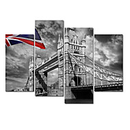 VISUAL STAR®London City Stretched Canvas Print Group Canvas Wall Art Ready to Hang
