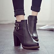 Calçados Femininos - Botas - Saltos / Botas Cano Curto - Salto Grosso - Preto / Marrom - Couro Envernizado - Casual