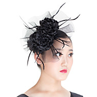 Women Polyester Mesh Flowers Fascinators Hat  Wedding Headpiece Beige/Blue/Black