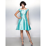 TS Couture Cocktail Party Dress - Jade A-line Scoop Knee-length Satin