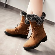 Women's Shoes Fleece Chunky Heel Fashion Boots/Round Toe Boots Dress/Casual Black/Brown/Yellow