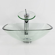 Transparent Square Tempered Glass Vessel Sink with Waterfall Faucet Pop - Up Drain and Mounting Ring
