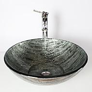 Starožitný 1.2*42*14.5 Kulatý dřez Materiál je Tvrzené skloKoupelnový dřez kohoutek do koupelny Montážní kroužek do koupelny Koupelnový