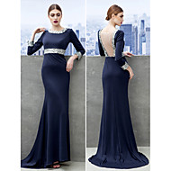 TS Couture® Formal Evening Dress - Dark Navy Sheath/Column Scoop Sweep/Brush Train Jersey
