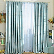 Two Panels European Contracted Fashion Flowers Jacquard Roller Blind Children Room Curtains Drapes