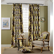 Blackout Printing Flowers Curtain  Two Panel