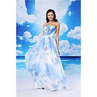 온라인 공식 이브닝 드레스 - 풀 / 흰색 바닥 길이 끈 오간자 / 새틴