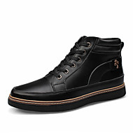Men's Boots Comfort Vulcanized Shoes Leather Spring Summer Fall Winter Casual Lace-up Flat Heel Black Brown