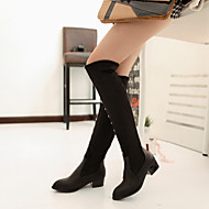 Women's Shoes Leatherette Chunky Heel Round Toe Boots Outdoor / Office & Career / Casual Black / Blue