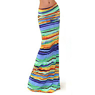Women's Print / Striped Multi-color Skirts , Beach / Work / Maxi Maxi      LS