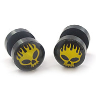 Fashion Acrylic Horrible Skull Stainless Steel Dumbbell Double Sides Stud Earrings 2pcs