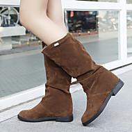 נעלי נשים - מגפיים - סוויד - מעוגל / מגפי אופנה - שחור / חום / אדום - קז'ואל - עקב וודג'