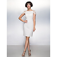 Cocktail Party Dress - Ivory Sheath/Column Scoop Knee-length Chiffon