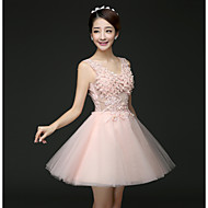 Cocktail Party Dress - Blushing Pink / Lilac A-line V-neck Short/Mini Tulle