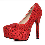 Women's Shoes Luxury Stiletto Heel Round Toe Pumps Wedding/Party & Evening Red/Silver