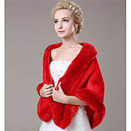 Fur Wraps / Wedding  Wraps Shawls Sleeveless Faux Fur Red Wedding / Party/Evening / Casual Open Front