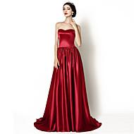 Formal Evening Dress - Burgundy A-line Sweetheart Court Train Stretch Satin