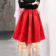 Women's Solid / Jacquard Red / Black Skirts , Casual / Party / Work Knee-length