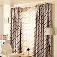 (Two Panels)Modern Tripes Jacquard  Faux Silk  Polyester Blackout Curtain(Sheer Not Included)