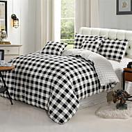zwart, wit, grijs geruite katoen 4-delige set beddengoed