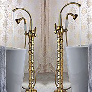 Bathtub Faucet - Art Deco/Retro - Floor Standing - Brass (Ti-PVD)