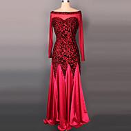 Ballroom Dance Dresses Women's Performance Velvet Draped 1 Piece Long Sleeve Dress 125