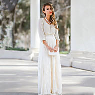 Women's Lace White / Almond Slim Hin Thin  Skirts , Lace / Maxi Maxi