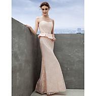 저녁 정장파티 드레스 - 펄 핑크 시스/컬럼 발목 길이 스쿱 레이스