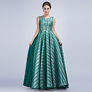 Formal Evening Dress A-line V-neck Floor-length Satin