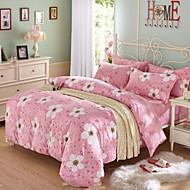 Pink Flower Cotton Bedding Set Of 4pcs Four Seasons Use
