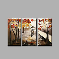Ready to Hang Stretched Hand-Painted Oil Painting on Canvas Wall Art Contempory Abstract Trees Road Three Panels