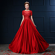 Dress A-line Jewel Floor-length Lace / Charmeuse with Beading / Lace / Sequins