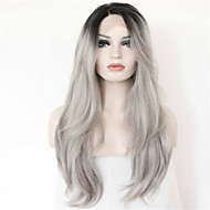 Brazilian Human Hair Glueless Wig 1B/Gray Ombre Silky Straight Full Lace Wig 130% Density Two Tone Lace Front Wig
