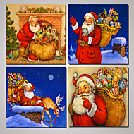 4 Panels Santa Claus Father Christmas Picture Print  on Canvas Unframed