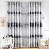 Two Panels Country Plaid Purple Bedroom Polyester Printing Roller Panel Curtains Drapes
