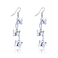 Korean Fashion Three Butterfly Alloy Drop Earrings