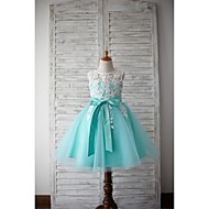 A-line Knee-length Flower Girl Dress - Lace / Tulle Sleeveless Jewel with