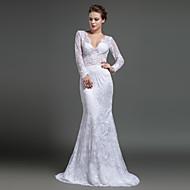 Formal Evening Dress Sheath/Column V-neck Sweep/Brush Train Lace