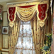 (Two Panels)Traditional Printed Jacquard  Floral Cotton Linen Blend Eco-friendly Curtain(Valance and Sheer Not Included)