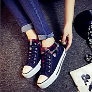 Women's Shoes Plaid Canvas Flat Heel Round Toe Student Fashion Sneakers Outdoor / Casual