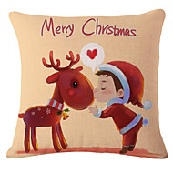 Cotton Linen Christmas Cartoon Printed Pillow Case Cushion Cover Santa Claus Snowman Reindeer Decorative