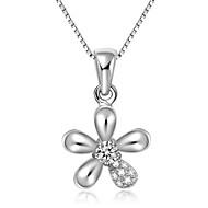 925 Sterling Silver Petaline Shape Pendant Women Fashion Jewelry
