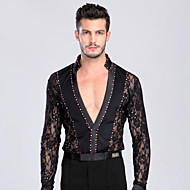 Latin Dance Tops Men's Performance Training Chinlon Lace Crystals/Rhinestones Lace 1 Piece Long Sleeve TopM:165-170 L:170-175 XL:175-180