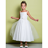 Lanting Bride A-line Tea-length Flower Girl Dress - Tulle Sleeveless Spaghetti Straps with Flower(s) / Ruching