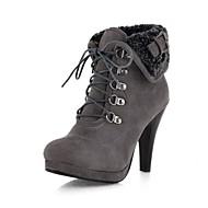 女性-アウトドア オフィス カジュアル-レザーレット-スティレットヒール プラットフォーム-プラットフォーム 乗馬ブーツ ファッションブーツ-ブーツ-ブラック イエロー グリーン グレイ