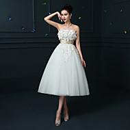 A-line Wedding Dress Tea-length Strapless Lace / Satin with Sash / Ribbon